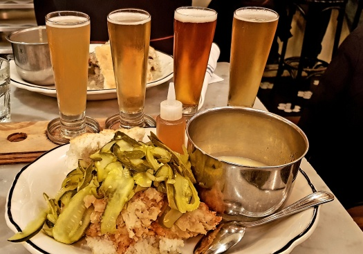 Fried chicken and pickle sandwich with a beer flight Jacob's Pickles Upper West Side NYC