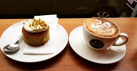 Pistachio Cake and Coffee Cuillier Paris France Montmartre