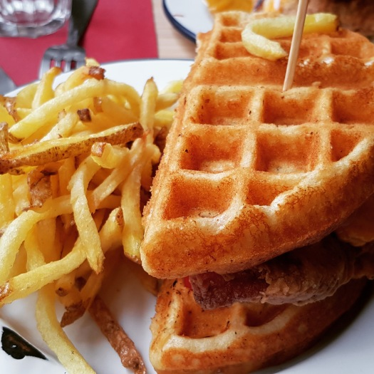 Fried chicken waffle sandwich Gumbo Ya-Ya Paris France soul food