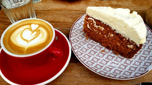 Cappuccino and Carrot Cake Matamata Coffee Paris France